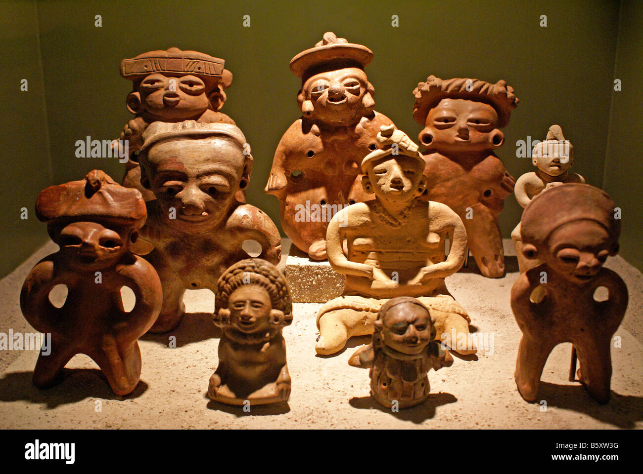 Pre-Columbian ceramic clay figurines in the Museo Nacional de Antropologia national anthropology museum  David J - Stock Image