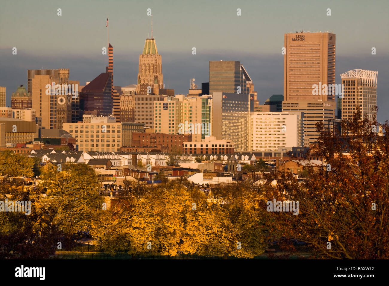 Autumnal skyline of Baltimore Maryland - Stock Image