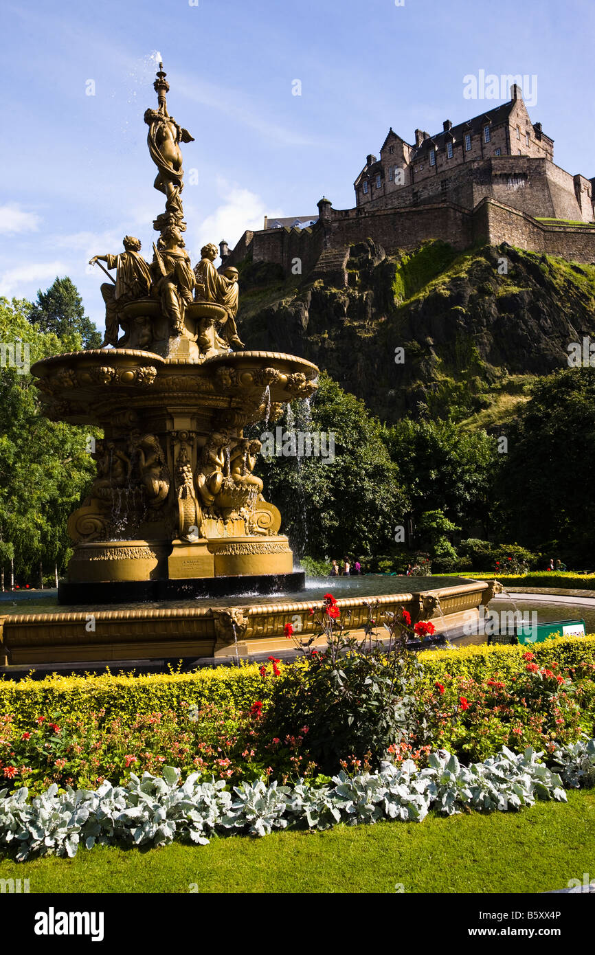 Ross fountain, Princes Street Gardens, Edinburgh with the Edinburgh ...
