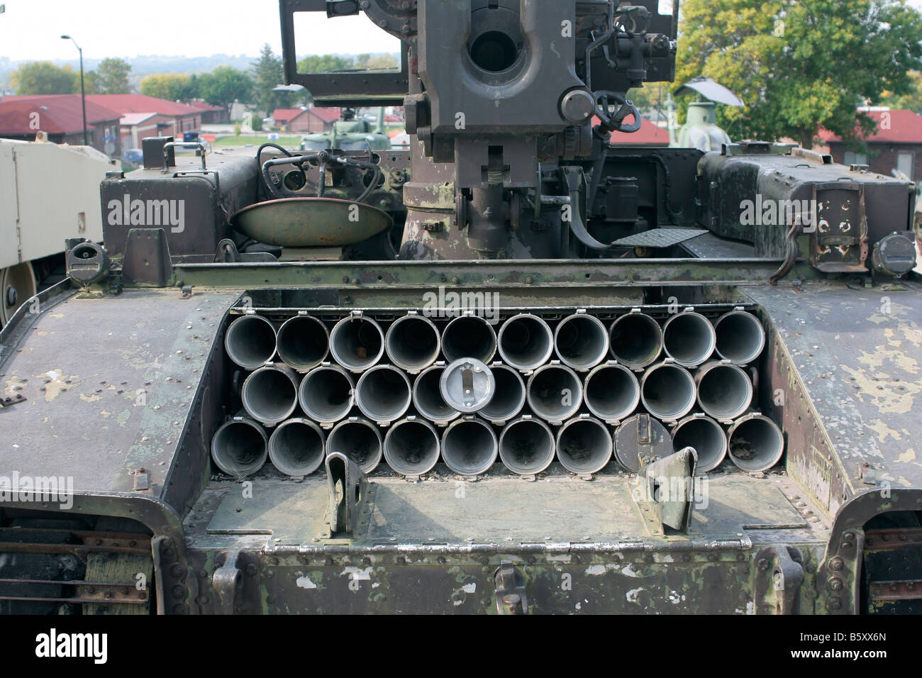 Ammunition storage tubes on a self propelled gun Gold Star Military museum Camp Dodge Iowa - Stock Image