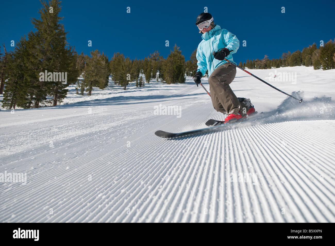 Paige Brady skis the groomers at Mt Rose Ski Tahoe Stock Photo