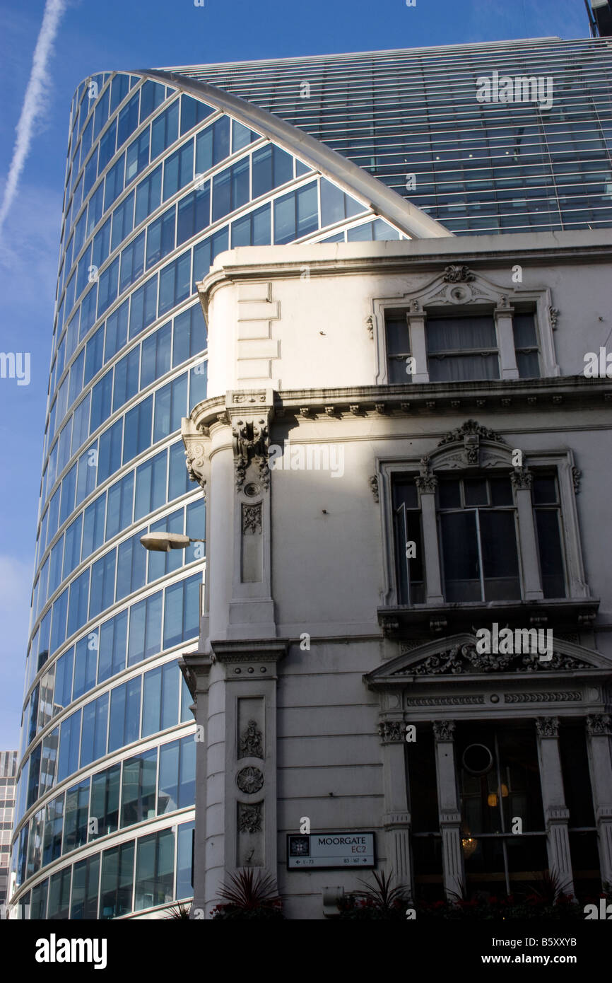 Old and new Moor House designed by Lord Foster near Moorgate Station in London - Stock Image