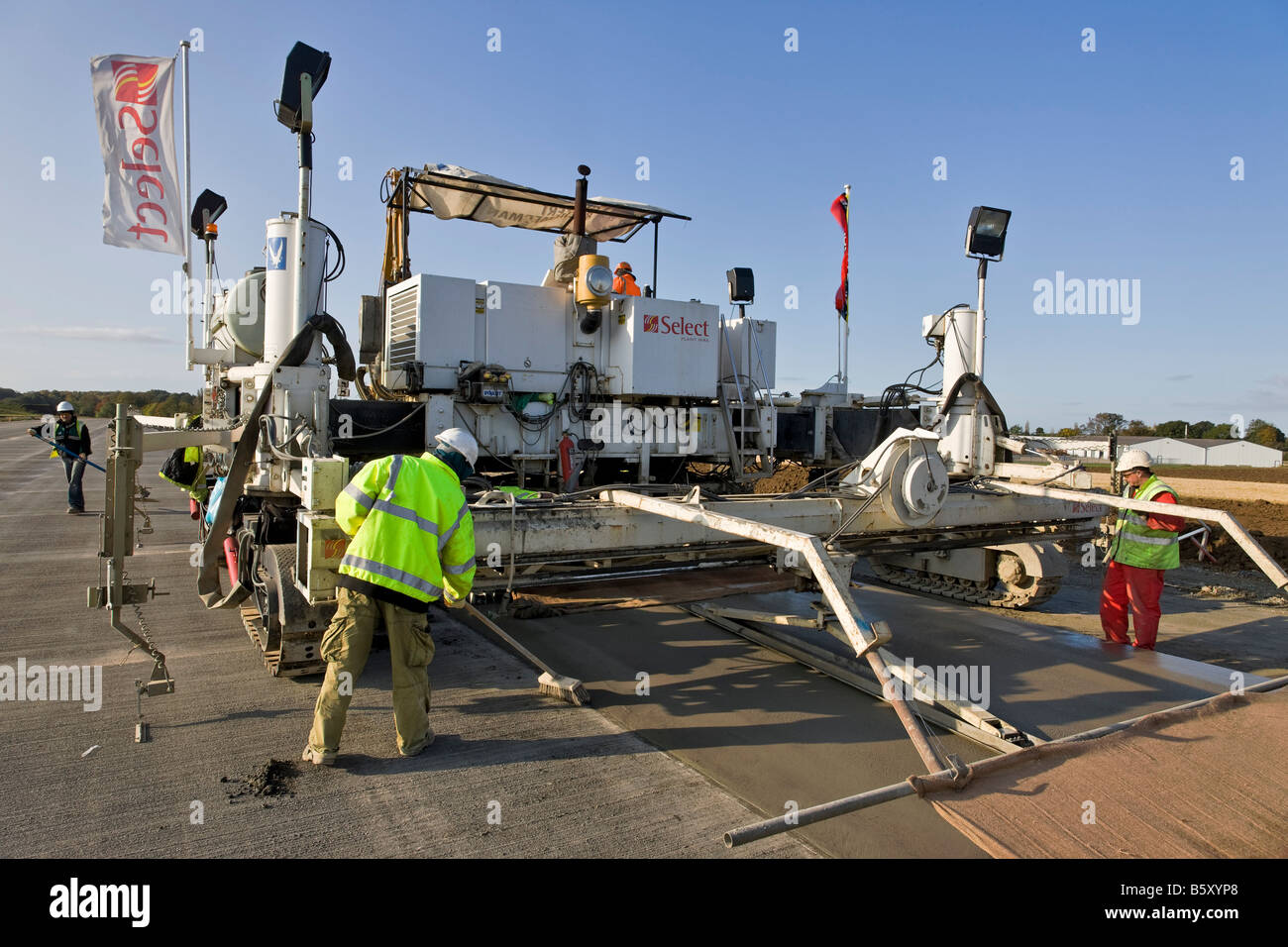 Airport runway construction at Sywell Aerodrome Northamptonshire - Stock Image