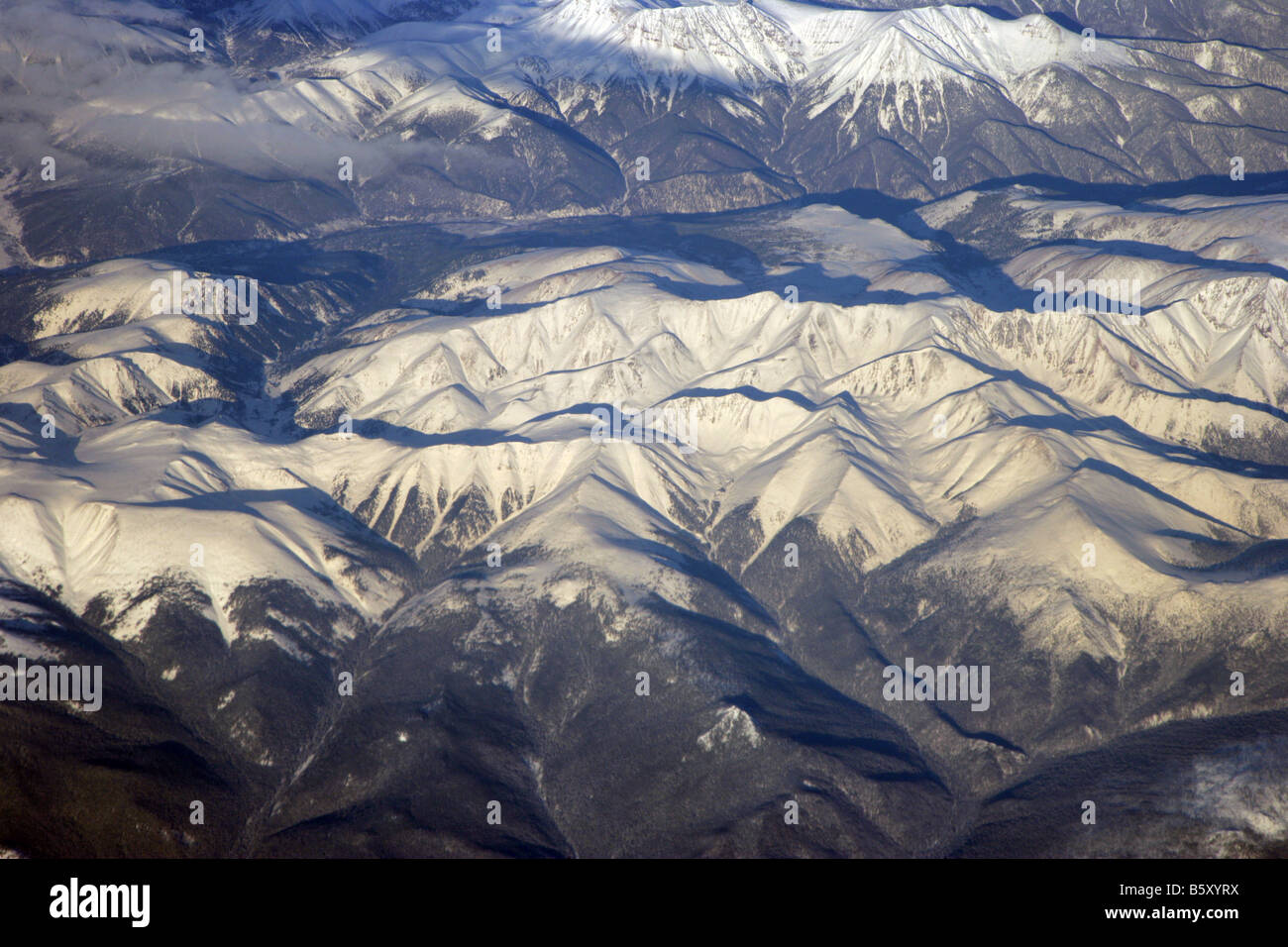 Sayan Mountains Irkutsk Mongolia seen from the air - Stock Image
