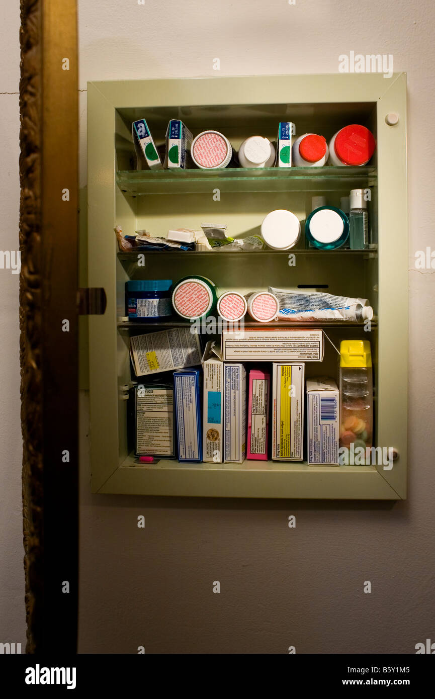 A Medicine Cabinet Is Open Showing Both Prescription And Over The Stock Photo Alamy