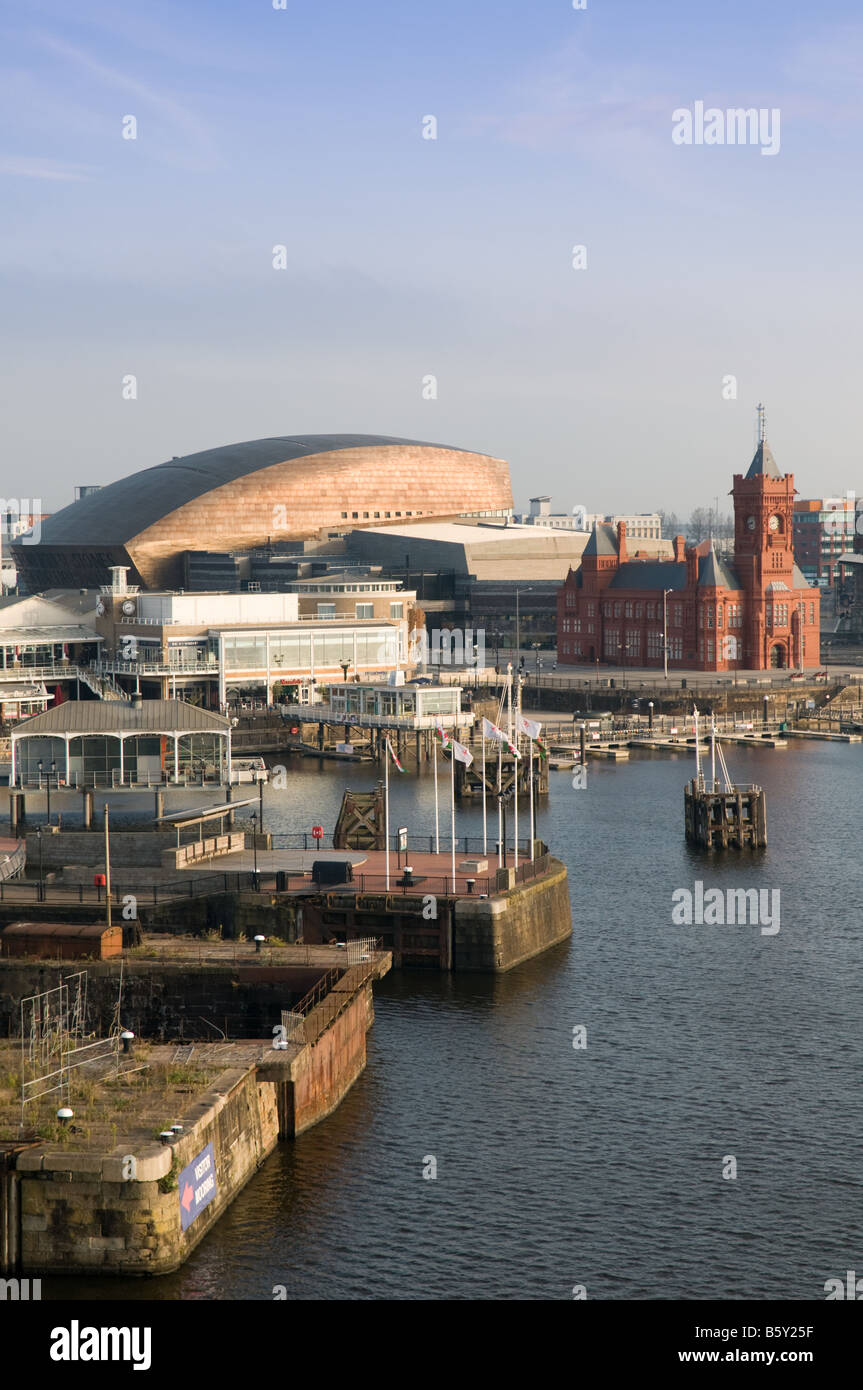 Cardiff Bay waterside early morning Pierhead Building Wales Millennium Centre, Mermaid Quay, Wales UK - Stock Image