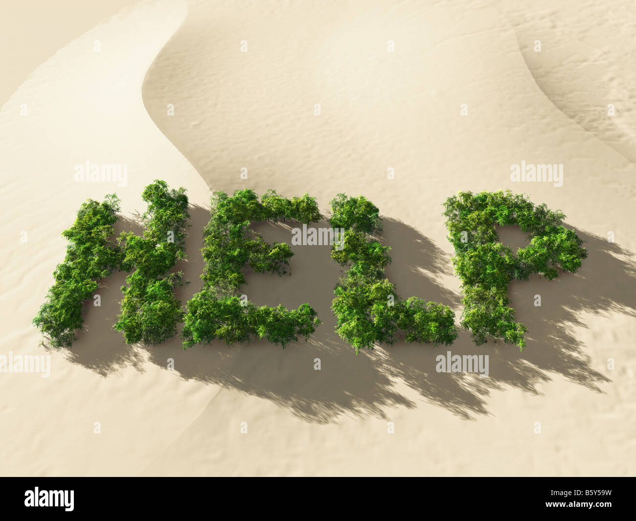 ecological disaster, help wod on sand-dune - Stock Image