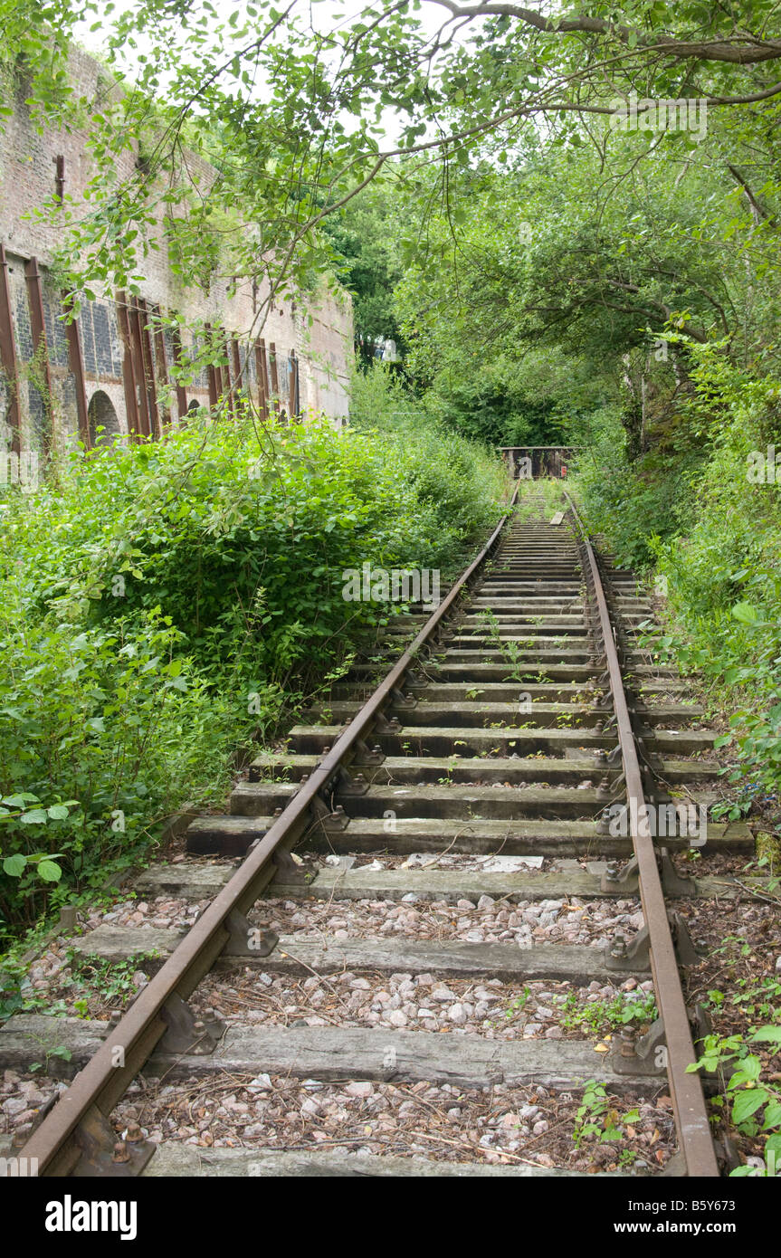 disused unused old Derelict Rail Railway Track - Stock Image