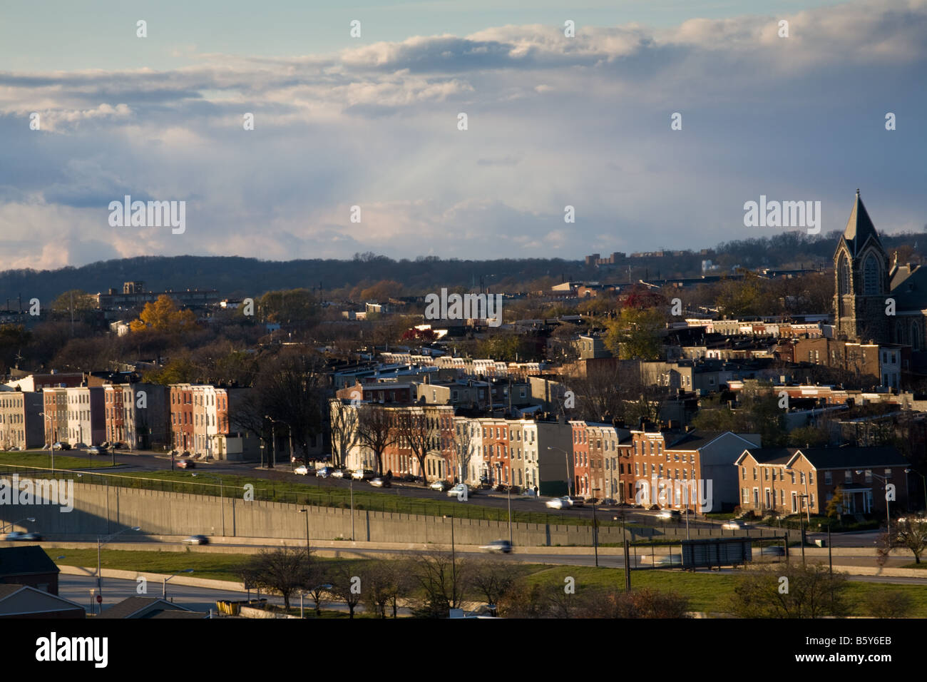 Houses lining Route Forty 40 west of Baltimore Maryland - Stock Image