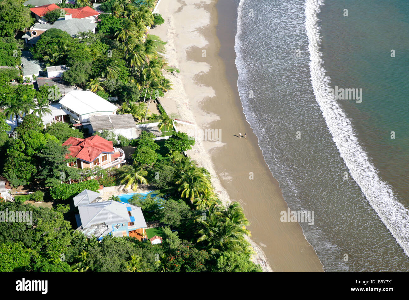 Arial view over the beach in San Juan del Sur Nicaragua central america pacific ocean pacific coast Stock Photo