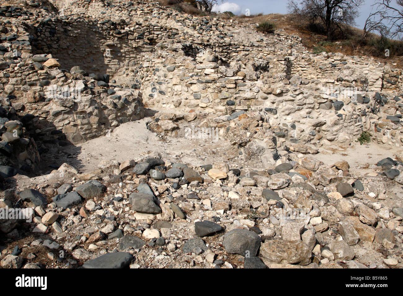 remains of a neolithic settlement round stone houses choirokoitia a UNESCO world heritage site cyprus mediterranean Stock Photo