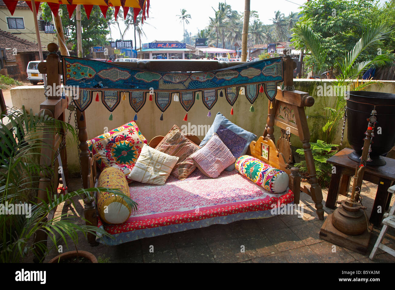 Traditional Indian Furniture at Baga Beach, Goa, India - Stock Image