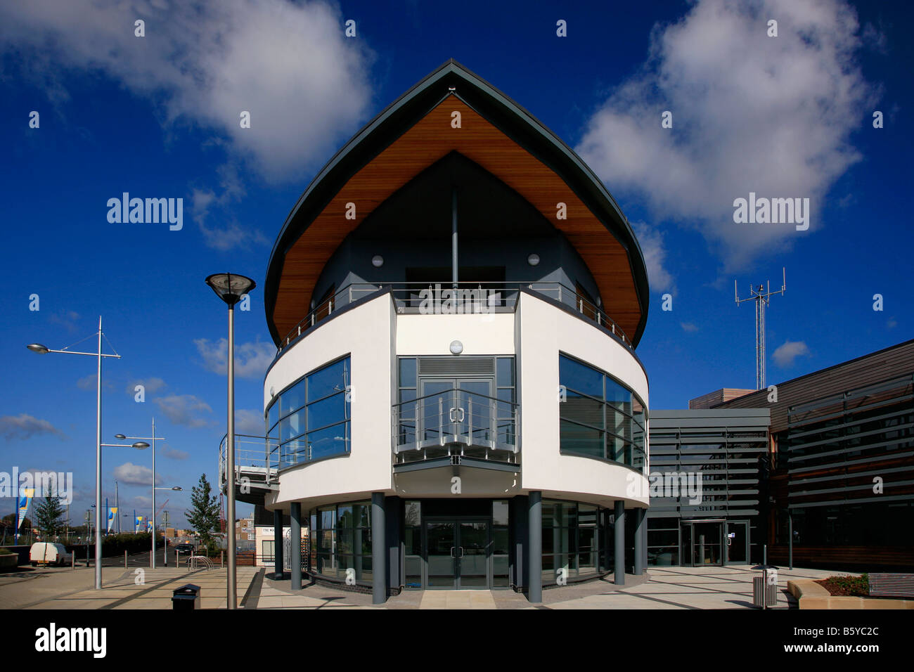 The New Modern Architecture Boat House Centre Wisbech town Docks River Nene Fenland Cambridgeshire County England - Stock Image