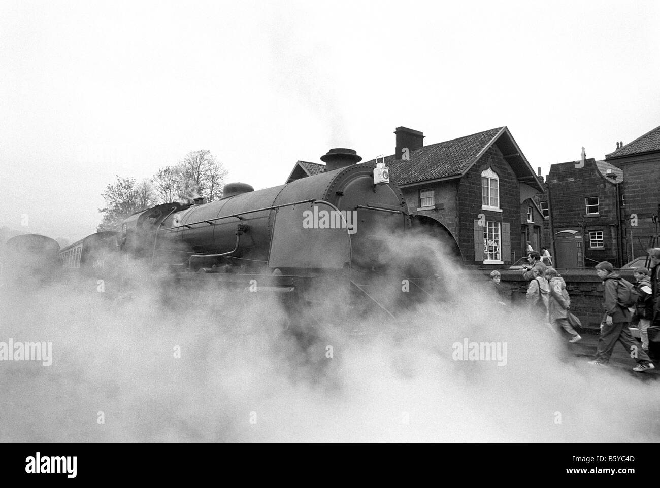 UK England Yorkshire Grosmont North York Moors steam railway station K6 phone box - Stock Image