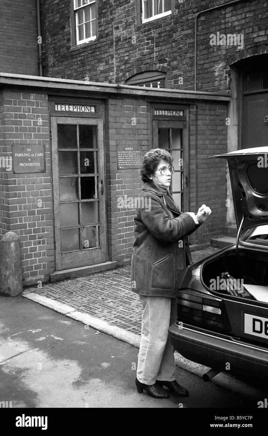 UK England Shropshire Bridgenorth unusual brick built Phone Box built into Post Office wall 1980s - Stock Image