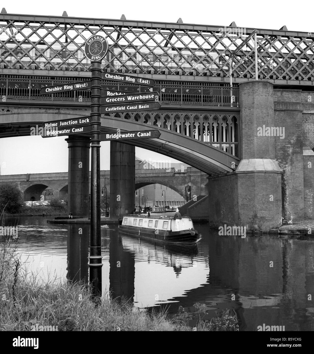 UK England Manchester Castlefield tourist information sign beside Bridgewater Canal - Stock Image