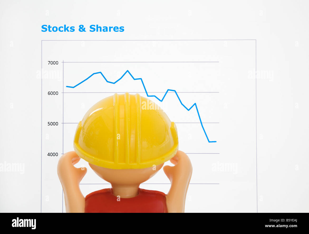 Britain UK Bob the Builder despairing at Stock market performance line graph showing FTSE 100 share prices falling - Stock Image