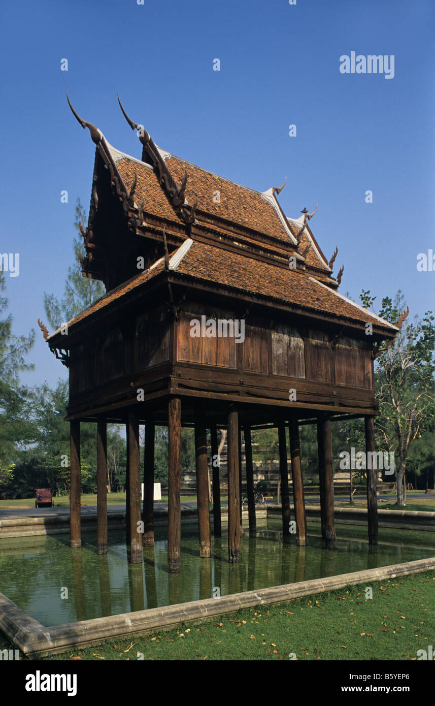 Scripture repository or Buddhist library, Wat Yai, Samut Songkhram, southern Thailand. Reconstructed at Ancient - Stock Image