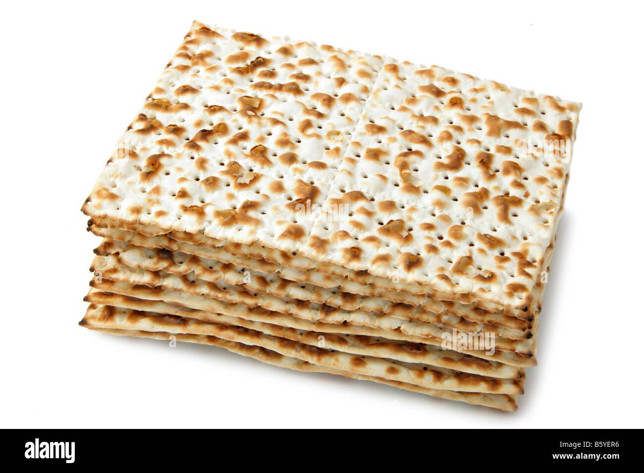 Matzos jewish passover bread isolated over white background - Stock Image