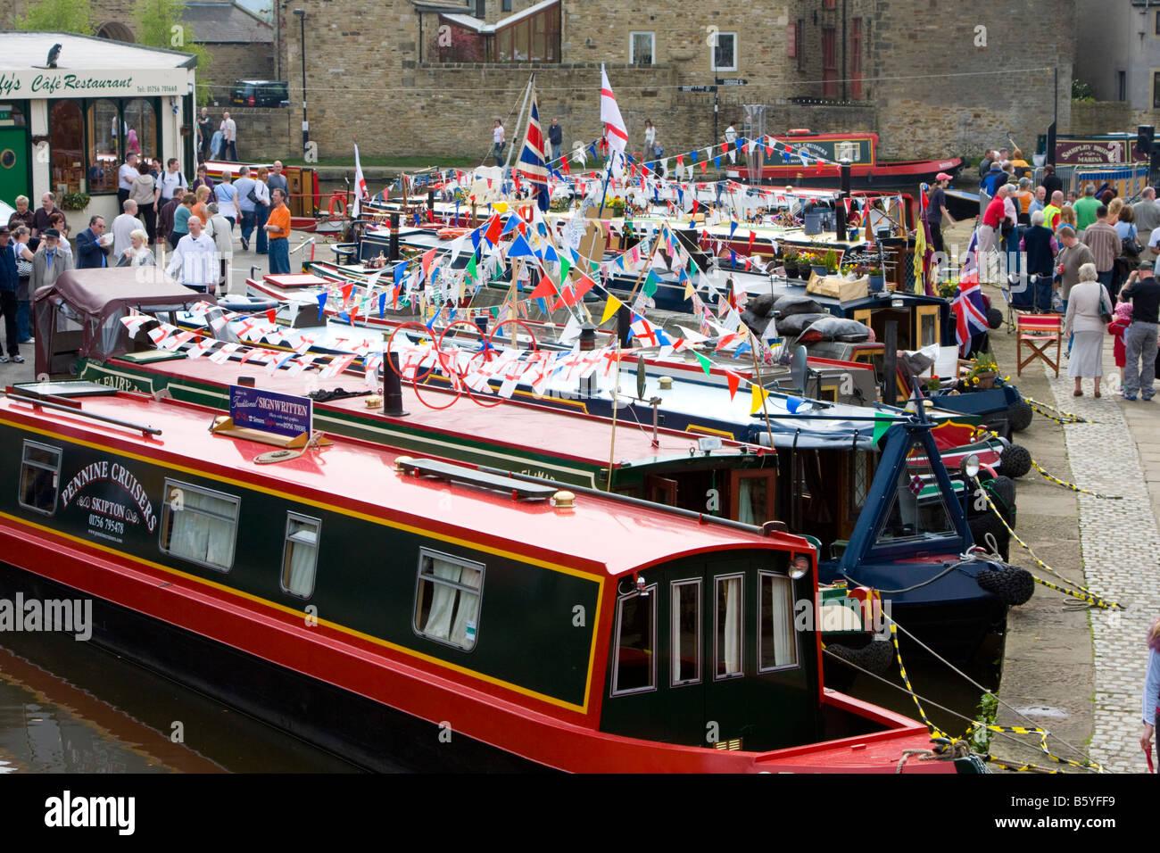 Narrow boats at Skipton Waterways Festival UK - Stock Image
