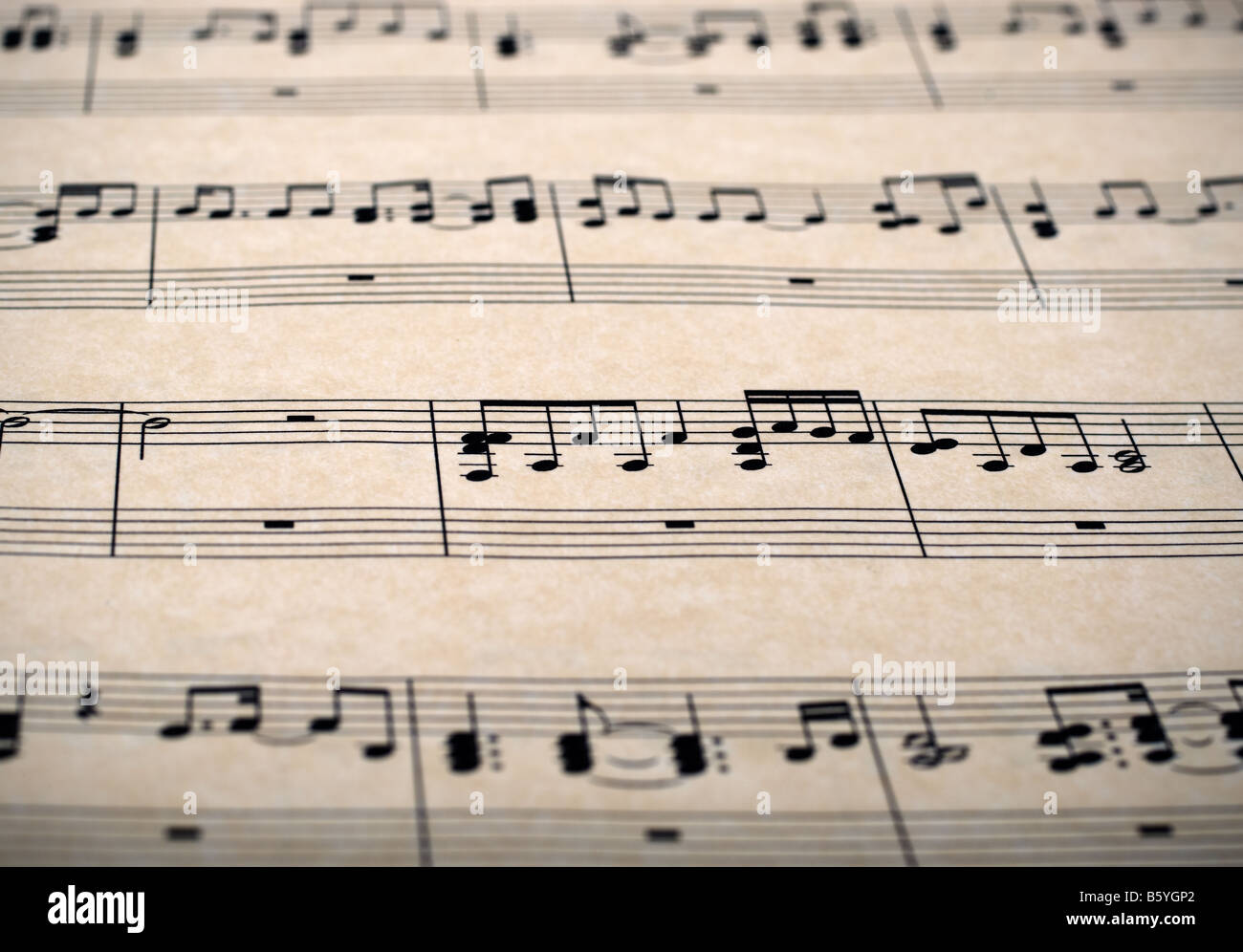 sheet music notes on old brown paper - Stock Image