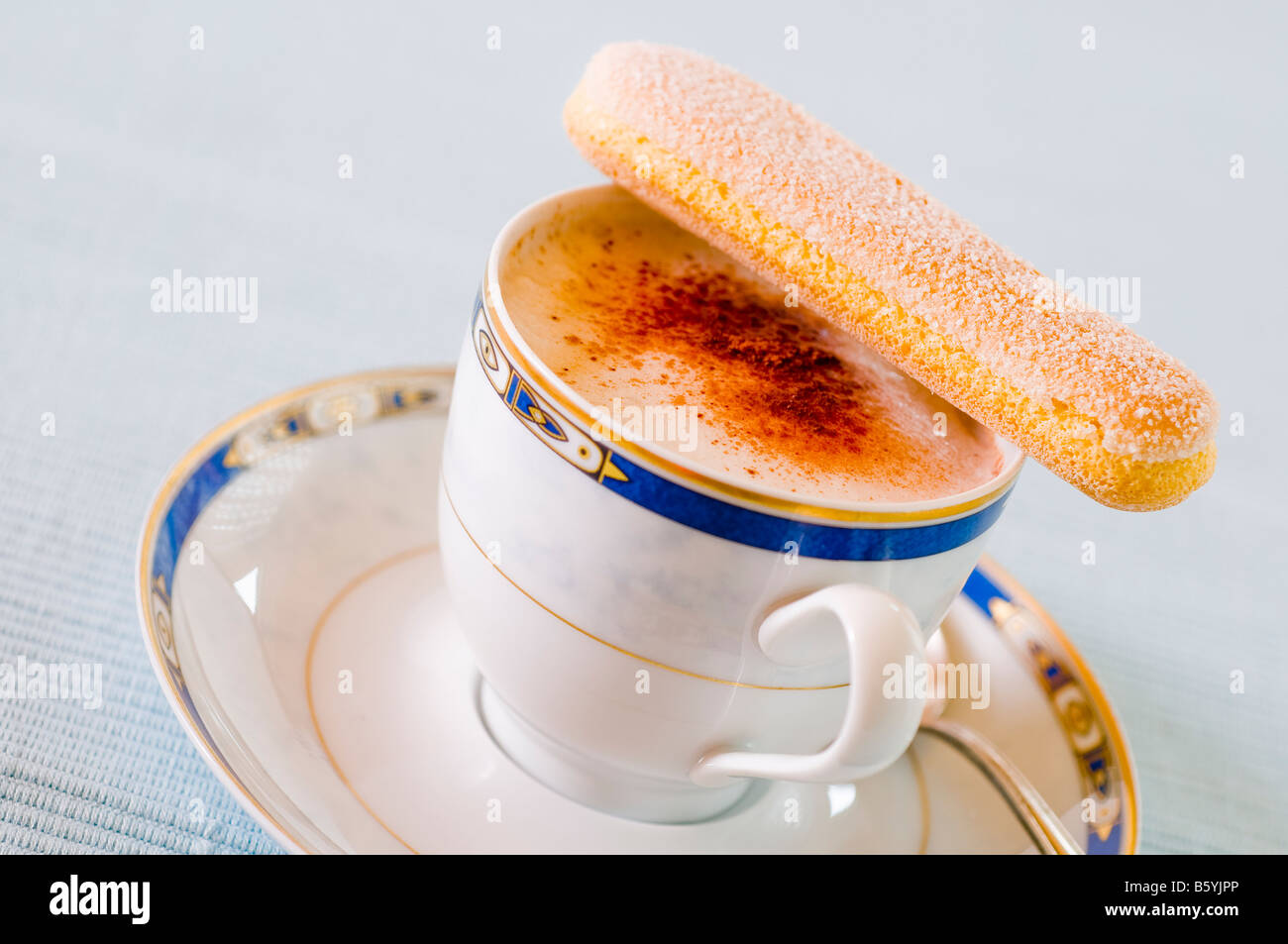 Cappuccino in white porcelain cup - Stock Image