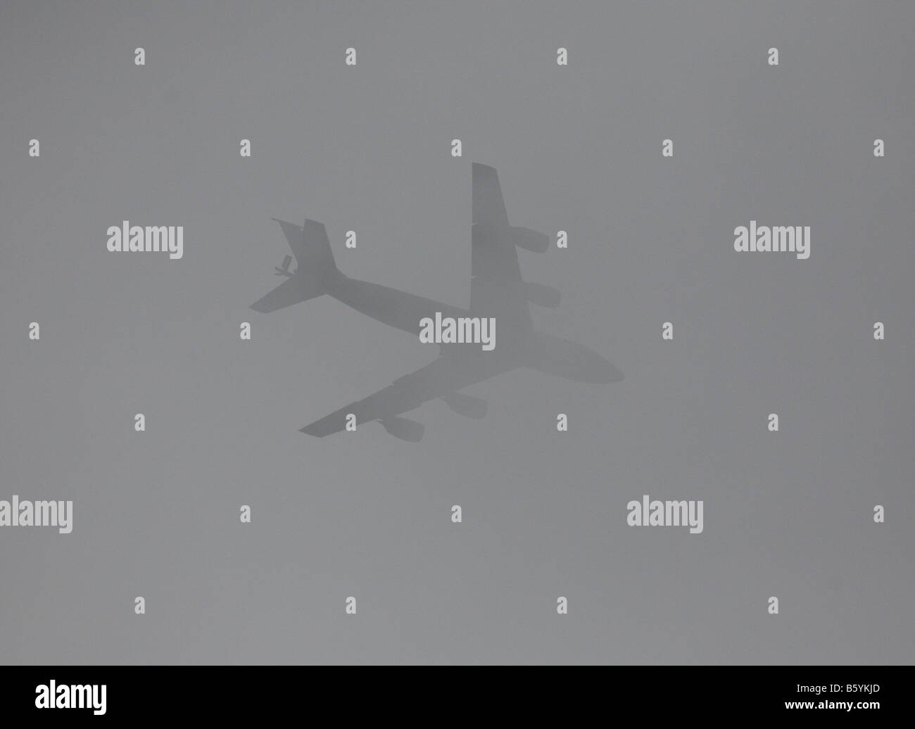 Aircraft in dense fog. - Stock Image