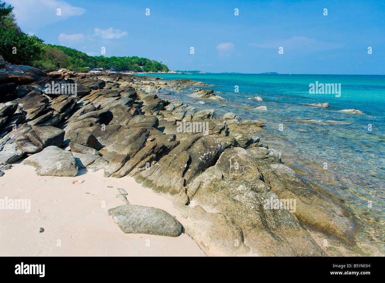 Koh Chang Asia Thailand beach natur stone - Stock Image