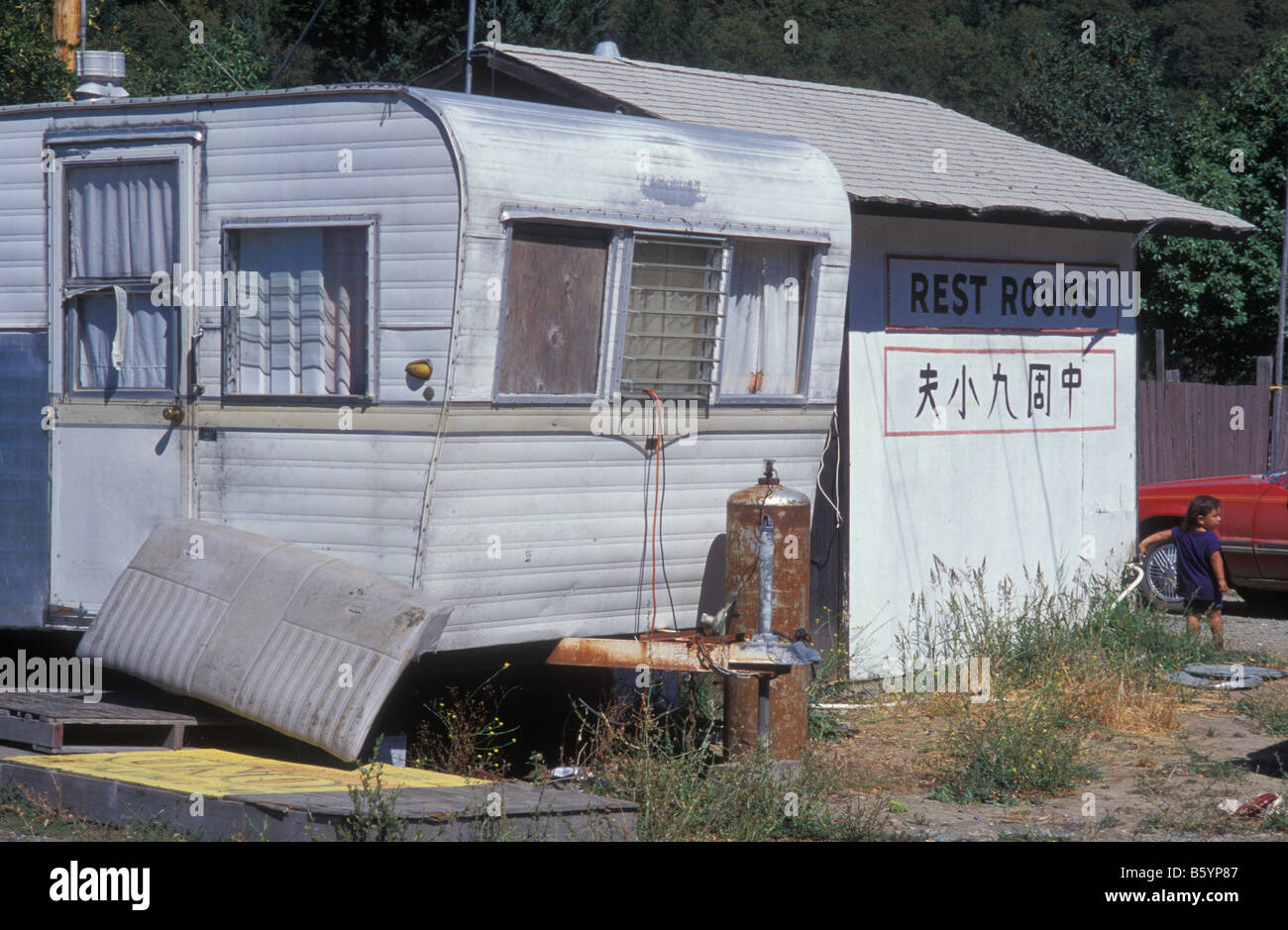Old Caravan, Hoopa Indian Tribe Reservation, Hoopa Valley, California, America, USA - Stock Image
