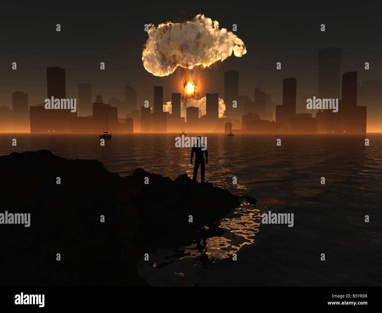 A Nuclear Bomb Exploding In A City Either a Missile Attack Or A Terrorist Bomb - Stock Image