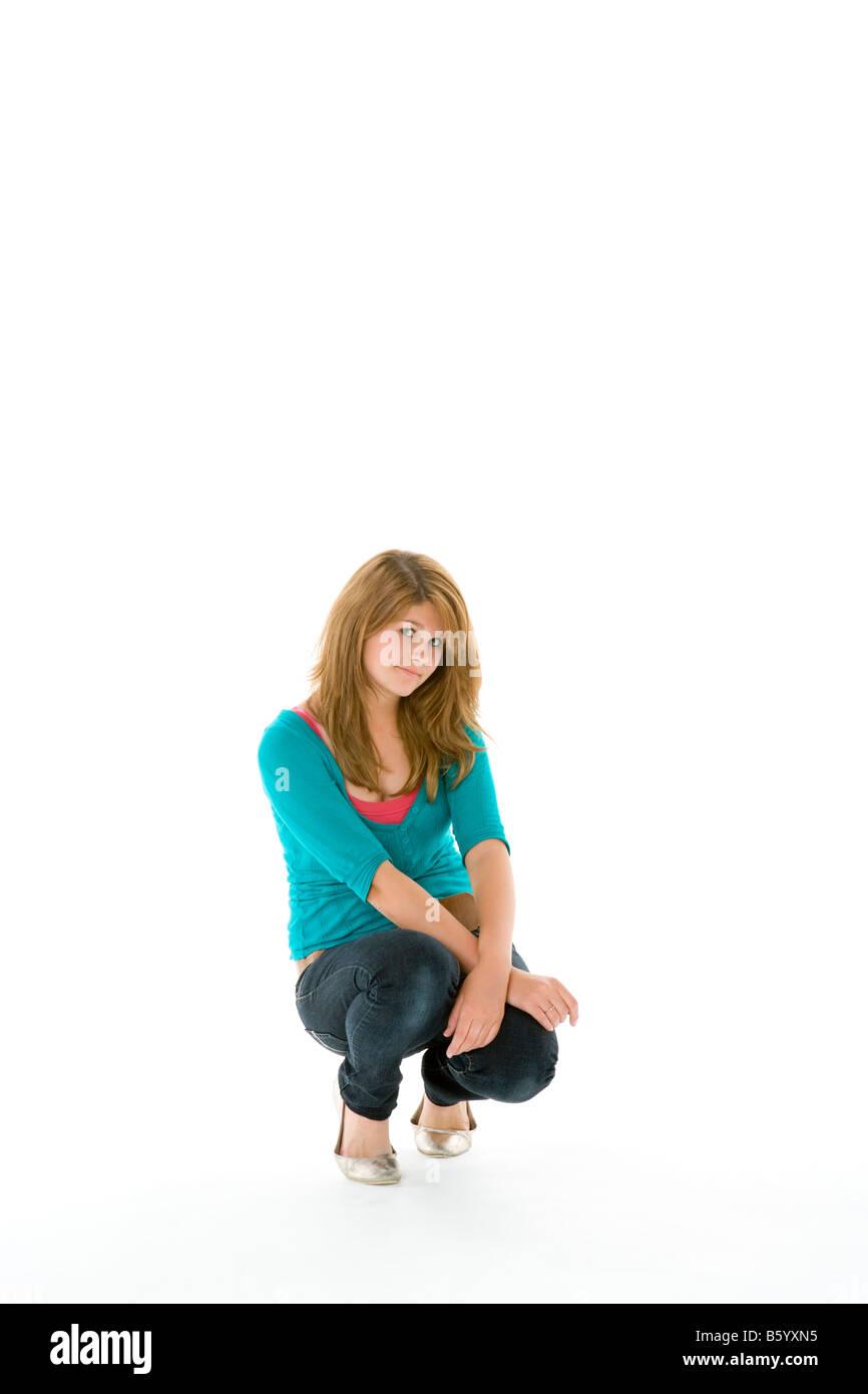 Full Length Portrait Of Teenage Girl - Stock Image
