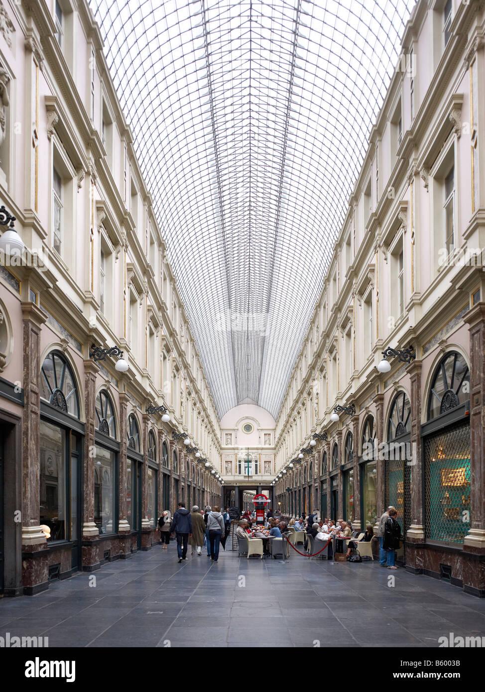 Galeries Royales Saint Hubert Brussels Brabant Belgium - Stock Image