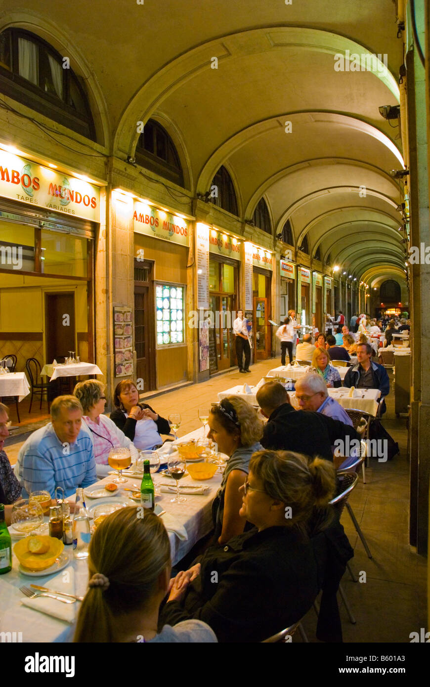 Restaurants at Placa Reial square in Barri Gotic district of Barcelona Spain Europe - Stock Image
