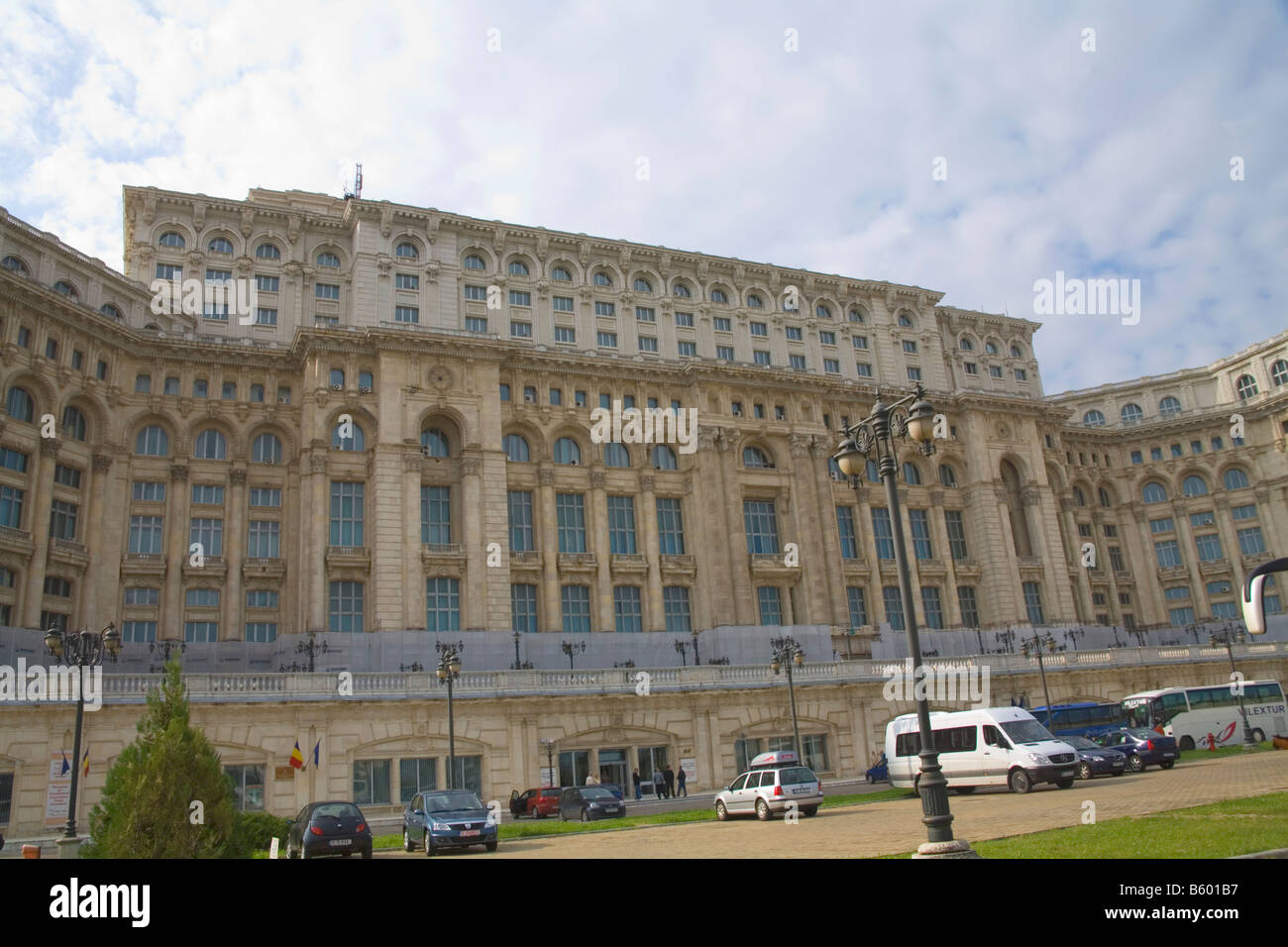 Bucharest Romania Europe The Casa Poporului House of the People started by Nicholae Ceausescu in 1984 most expensive - Stock Image