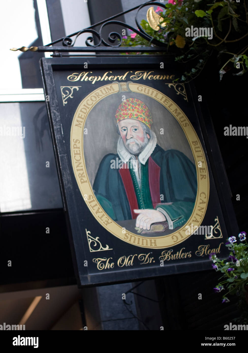 Shepherd Neame pub sign 'The Old Dr Butler's Head' Moorgate London GB UK - Stock Image