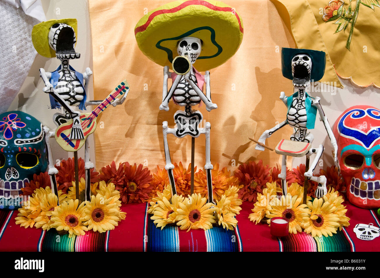 Day of the Dead Dia (de los Muertos) display, Institute of Texan Cultures, San Antonio, Texas. - Stock Image