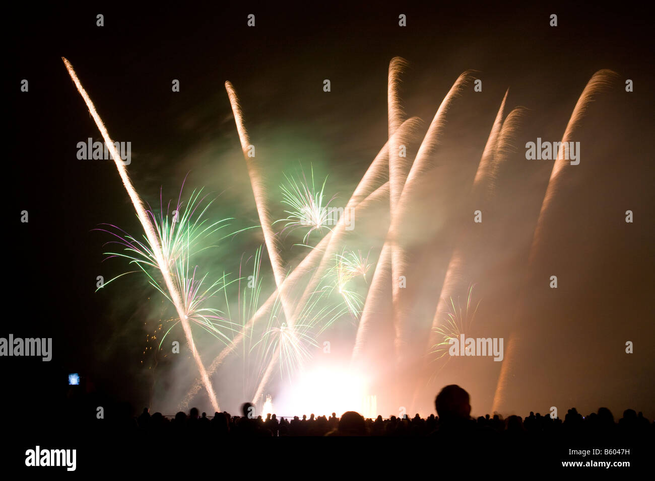 Firework display at Roundhay Park Leeds UK Stock Photo