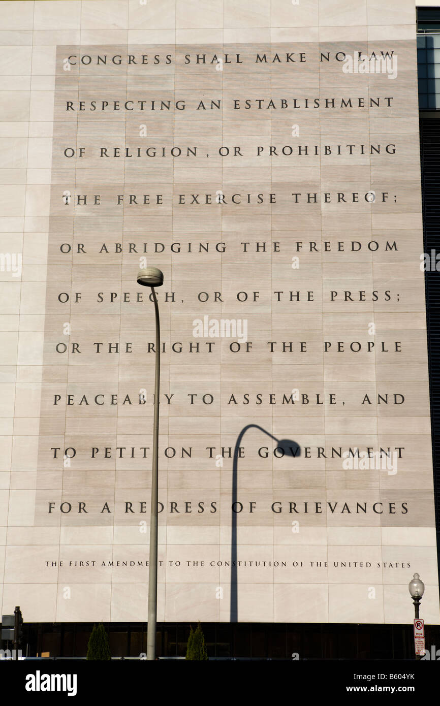 First Amendment in Bill of Rights of U. S. Constitution guarantees freedom of speech, Newseum Washington D.C. - Stock Image