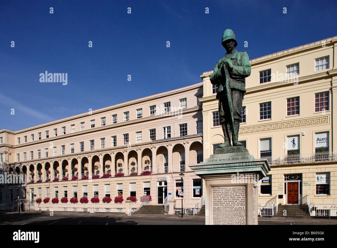Cheltenham Regency Terraces Municipal Offices Memorial of South Africa s War 1899 1902 Gloucestershire UK - Stock Image