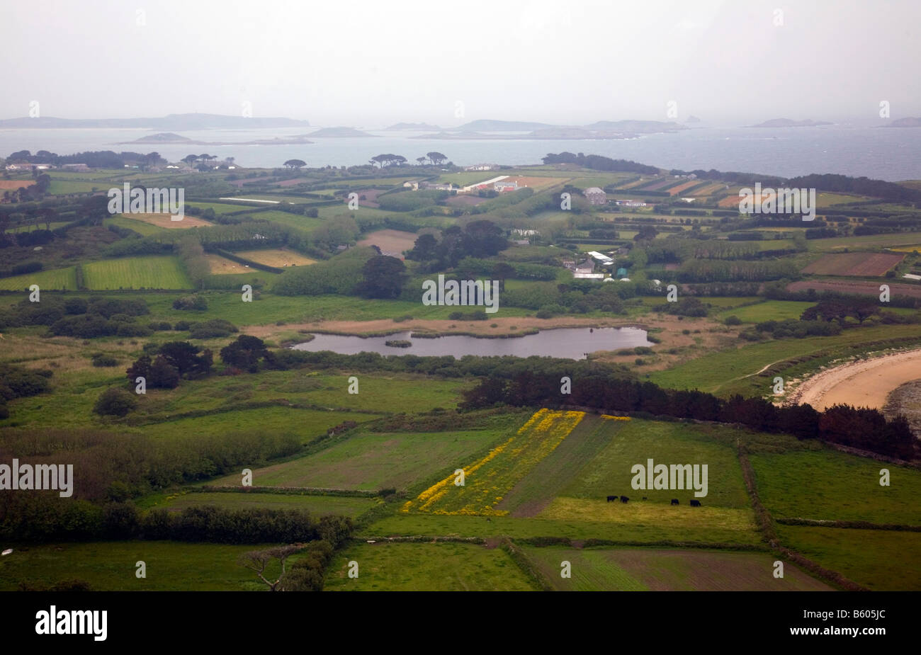 view of porth hellick st mary s Isles of Scilly from the helicopter - Stock Image