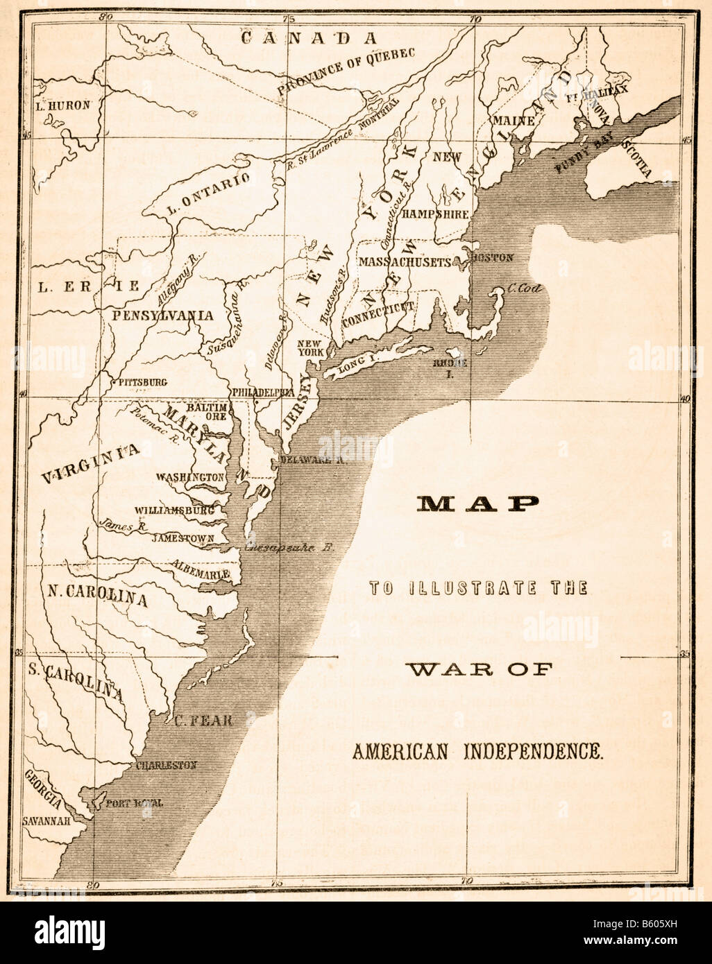 Map illustrating geography pertinent to the American War of Independence - Stock Image