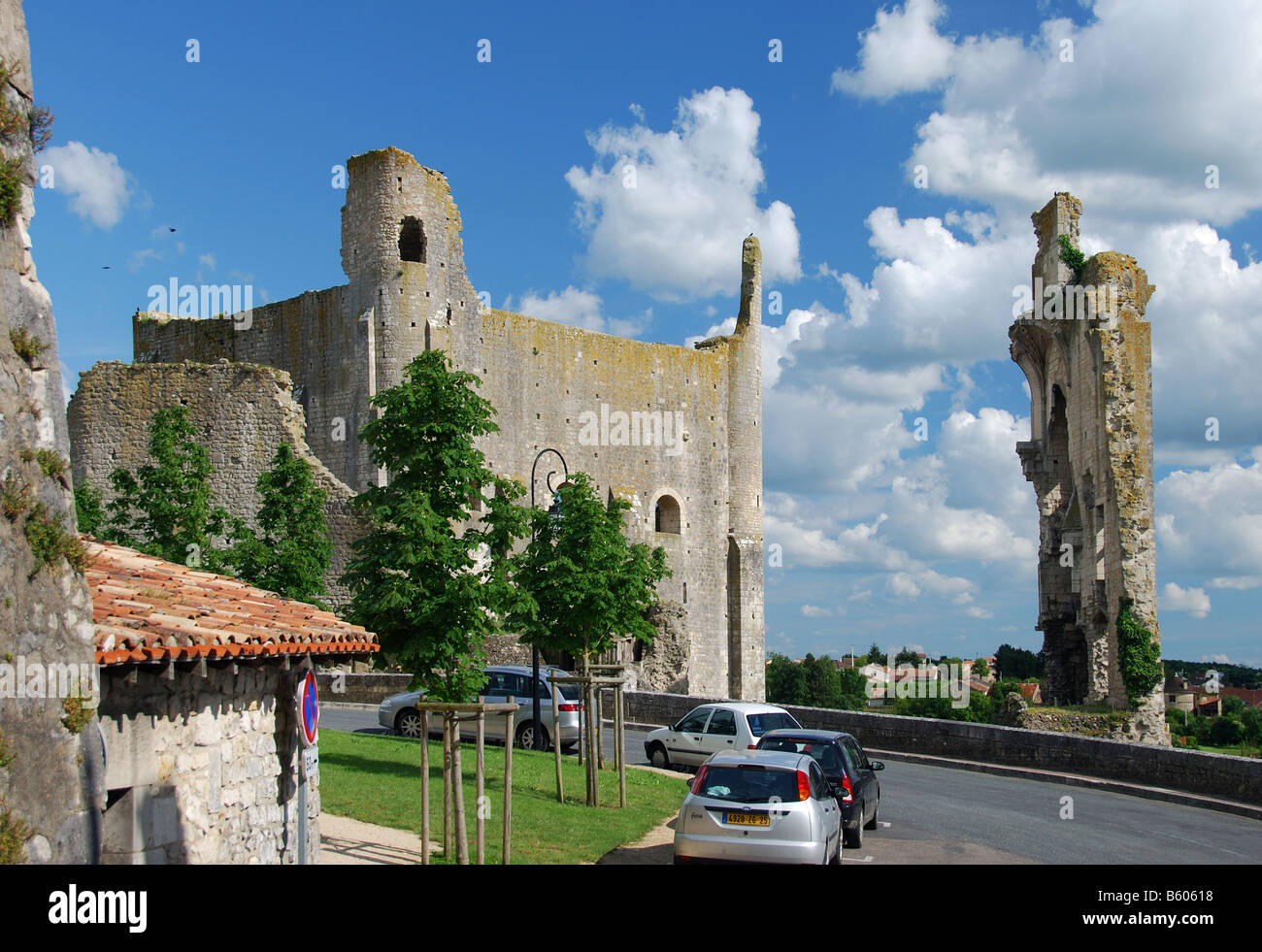 Medieval fortifications, Chauvigny, France - Stock Image