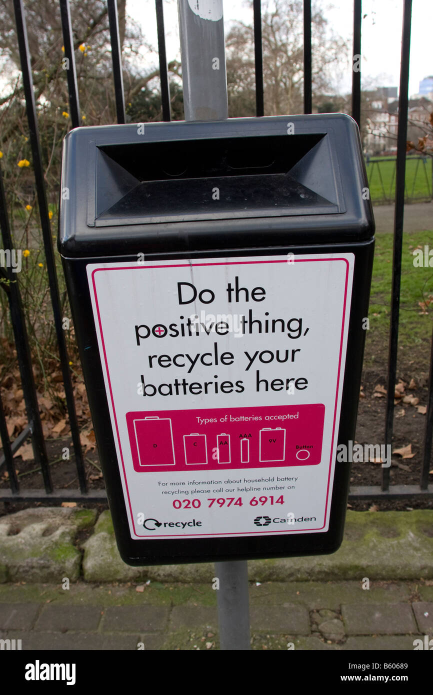 Recycling box for batteries in London Borough of Camden London GB UK Stock Photo