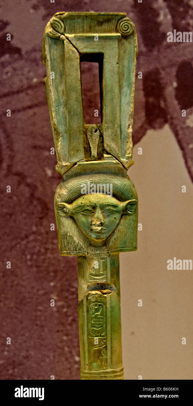 Sistrum sistra ptolemaic late psammetichus II National Archaeological Museum - Stock Image