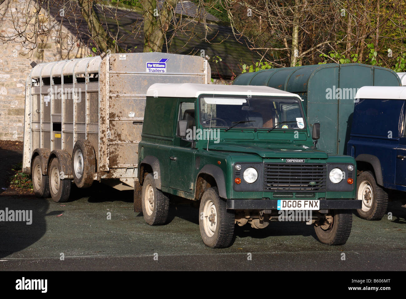 Land Rover Defender Uk Stock Photos Electric Brake Controller Australian Owners And Trailer Image