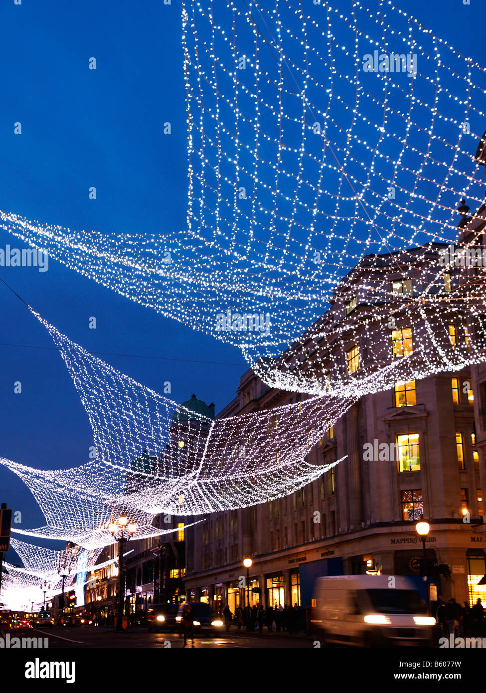 Christmas lights Regent Street London. For the 2008 - 2009 holiday season. - Stock Image