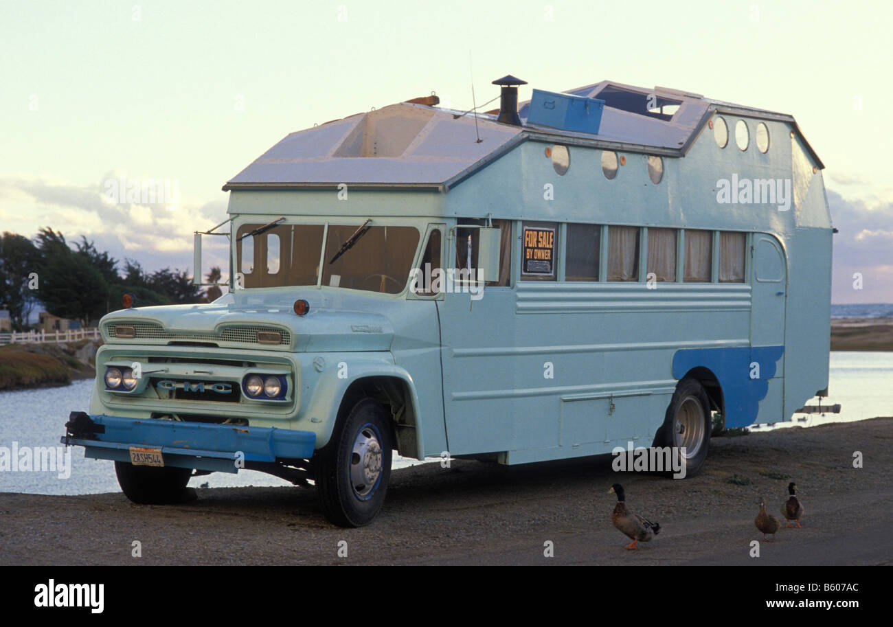 Old Motorhome, For Sale, Grover, California, America, USA Stock ...