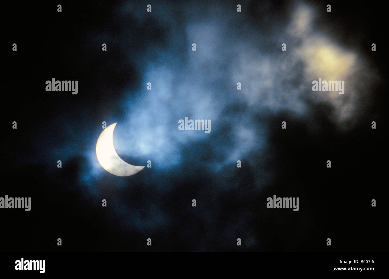 Partial solar eclipse -  11th August 1999, Wales, UK. - Stock Image