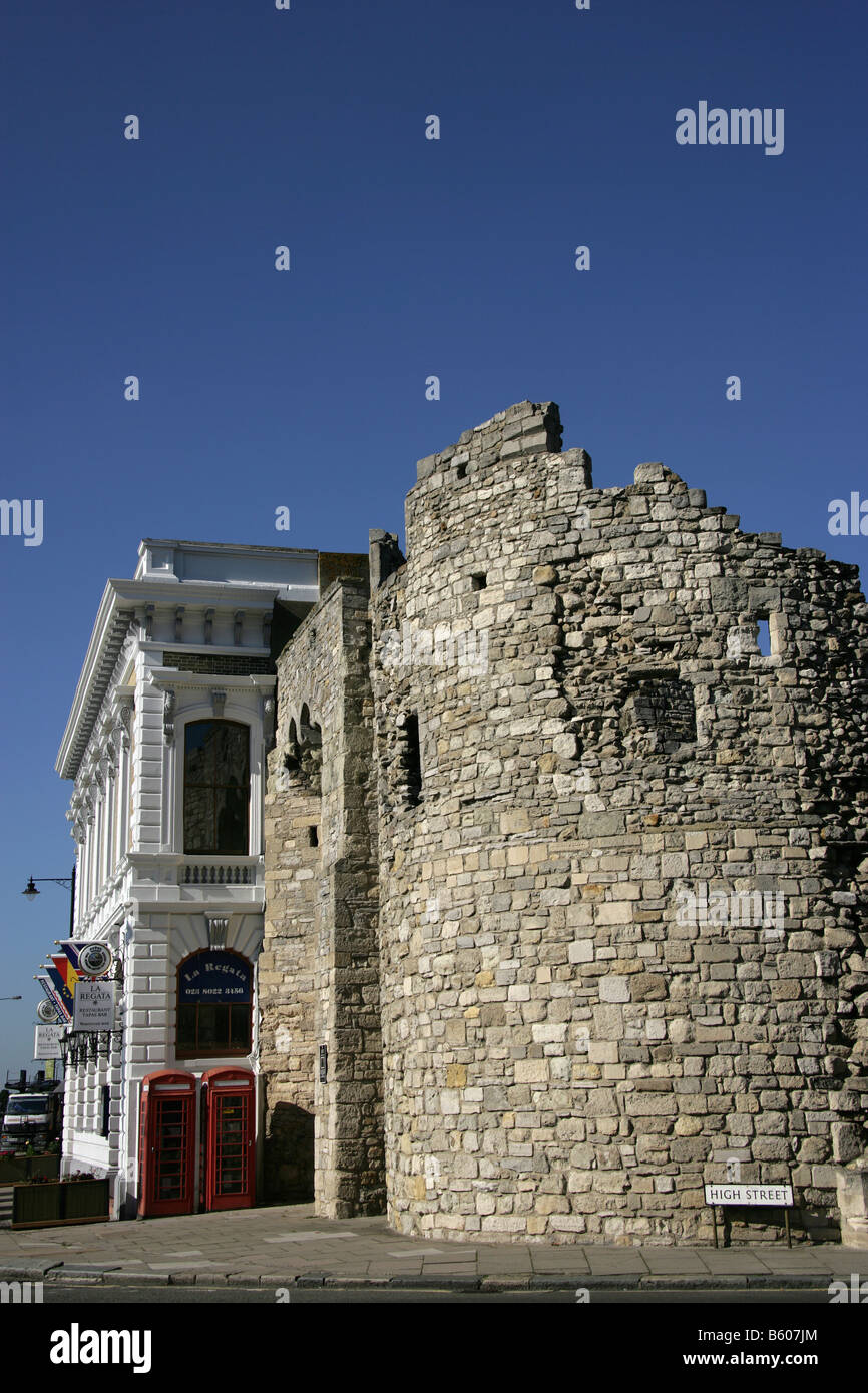 City of Southampton, England. The Watergate ruins on the southern end of the Old Town Wall near Town Quay and High Stock Photo