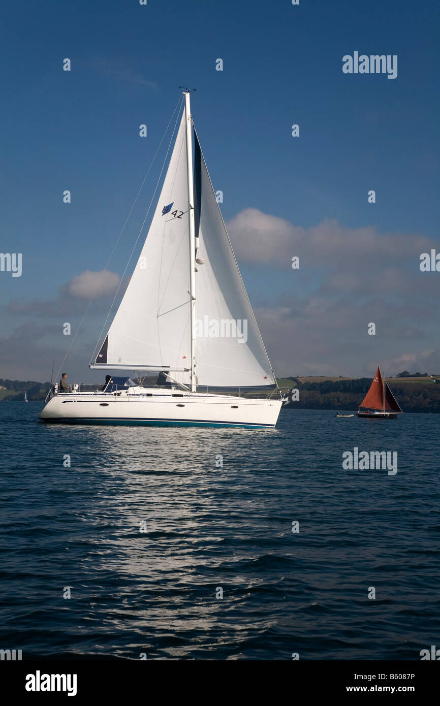 yacht and shrimper on the river fal cornwall - Stock Image